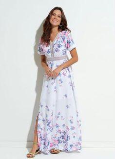 5d4afbee8db Vestido (Floral) Quintess com Detalhes em Renda