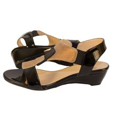 Black patent and glimmer bronze summer suede pair in neutrality on Amalfi Italian Shoes sleek sandal.