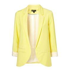 Yellow Boyfriend Ponte Blazer with Rolled Sleeves Blazer ❤ liked on Polyvore