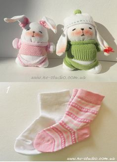 These bunnies are so cute. They maybe are better and cheaper than what are sold in stores. You can make them with some easy steps in the pictures below. They are great gifts for little kids. Diy Sock Toys, Sock Crafts, Bunny Crafts, Easter Crafts, Diy Kawaii, Sock Dolls, Rag Dolls, Fabric Dolls, Sock Bunny