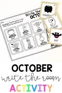 Write the Room is a fun way for your students to practice beginning literacy skills while getting up and moving. This October theme keeps it fresh, fun, and exciting! 4 recording sheet options are included so you can differentiate for your students. #writingcenter #writetheroom #kindergarten