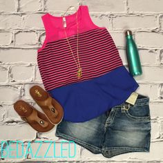This outfit is perfect for today!! Stripe Pink Tank $24.99 big star shorts $98 necklace $21.99 sandals $18.99 swell bottle $36.99 #bedazzledokc #womensboutique #boutique #Okc #swell