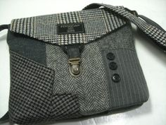 Crossbody Purse, Messenger Bag, Wool Purse, Recycled purse, Plaid wool, gray Pinstrip, mens suit coat, Ready to Ship