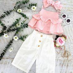 Baby Girls Ruffle T-Shirt + Pants + Headband Outfit Set, , Baby Girl Fashion, Girls Summer Outfits, Little Girl Outfits, Little Girl Dresses, Girls Dresses, Summer Clothes, Baby Summer Dresses, Cool Kids Clothes, Baby Dresses, Dress Girl