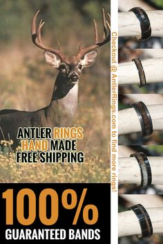 Deer and Elk Antler Wedding Bands for Men and Women that Hunt! FAIR PRICES, WARRANTY, GREAT VARIETY! www.AntlerRings.com