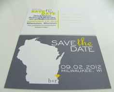 State Map Save the Date Postcards Invitation Engagement Notice Custom Wedding Set of 48- All 50  States Available. $59.00, via Etsy.