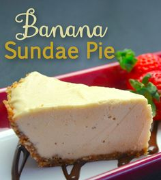 This is a delicious banana split sundae pie. If you are looking for something light and won't leave you feeling guilty, this is it! Enjoy this pie! #pie #banana
