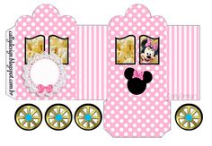 Minnie with Pink Stripes: Princess Carriage Shaped Free Printable Box. Pink Popcorn, Minnie Mouse Gifts, Disney Paper Dolls, Mickey E Minie, Doll Patterns Free, Pop Corn, Small Gift Boxes, Pink Birthday, Digital Scrapbooking