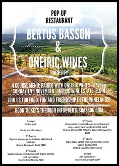 Pop-Up Restaurant with Bertus Basson and Oneiric Wines