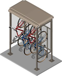 Compact Bike Shelter: Narrow Foot Print Similar design of CyclePort with narrow footprint Specify side panels to accommodate Vertical WallRacks Ideal for pedestrian walkways near building entrance Bicycle Storage Shed, Vertical Bike Storage, Outdoor Bike Storage, Bicycle Rack, Bike Shed, Bmx Bicycle, Farmhouse Sheds, Bike Shelter, Bike Cover