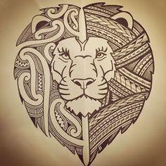 lion maori tattoo lion rasta tattoo maori emboiture tattoo leg tribal ...