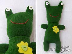Glove Frog handmade - soft toy - Green and Yellow ~ shusha64 @ etsy