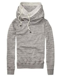 Home Alone Sweater With Double Layer Hood > Womens Clothing > Sweaters at Maison Scotch. Everyone looks good in a gray hoodie. Fact.