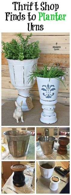 Upcycled Crafts Reuse Thrift Stores - DIY Planter Urns from Thrift Shop Finds. Thrift Store Furniture, Thrift Store Crafts, Diy Furniture, Refurbished Furniture, Repurposed Furniture, Upcycled Crafts, Diy And Crafts, Recycler Diy, Thrift Shop Finds