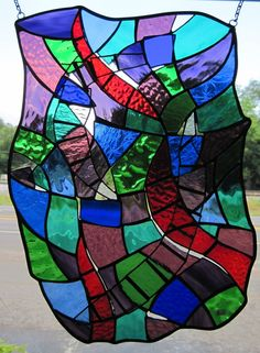 Stained Glass Panel 3-D Abstract Multicolored Clearance