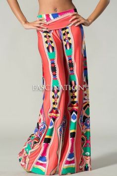 Awesome Coral Multi Color Aztec Hot Fashion Palazzo Pants s M L | eBay