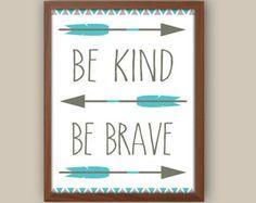 Baby Boy Nursery Art - Tribal Nursery Art - Tribal Pattern - Be Brave Quote - Teal Blue And Gray Nursery - Kids Tribal Arrows