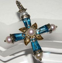 Bixby Couture Sterling Silver & 18K Gold Blue Topaz & Freshwater Pearl Cross from the Ethereal Collection.