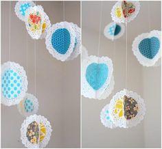 DIY Nursery Mobiles : DIY Hanging Fabric Doily Mobile!!