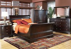 Shop for a Whitmore Cherry Sleigh  6 Pc Queen Bedroom at Rooms To Go. Find Bedroom Sets that will look great in your home and complement the rest of your furniture. #iSofa #roomstogo