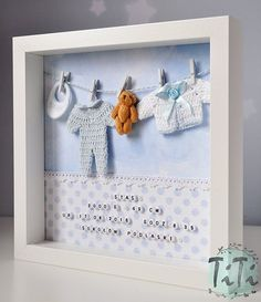 Baby decor frame for New Baby-personalised Box Frame of TiT … – Baby decoration – firsta Shadow Box, Baby Crafts, Diy And Crafts, Baby Dekor, Baby Frame, Baby Box Frame Ideas, Diy Bebe, Organic Baby Clothes, Personalised Box