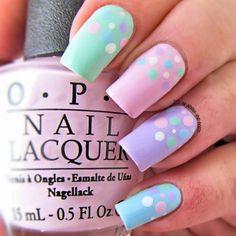 Pastel Nails: 35 Creative Pastel Nail Art Designs - Part 23 Pastel Nail Art, Cute Nail Art, Easy Nail Art, Cute Nails, Pastel Colors, Pastels, Colorful Nails, Easter Nail Designs, Nail Art Designs