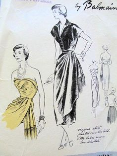 Vogue Paris Original ca. Pierre Balmain - One-piece dress and bolero. Featured in Vogue Pattern Book, August-September 1949 Vintage Vogue Patterns, Retro Pattern, Fashion Sketches, Fashion Illustrations, Dress Sewing Patterns, One Piece Dress, Pattern Books, Vintage Fashion, Sewing Diy