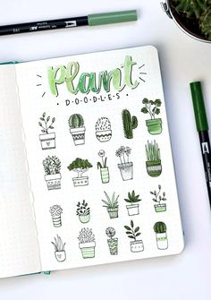 Plant doodles by ig@dutch_dots. | amazing doodling ideas for bullet journal or diary