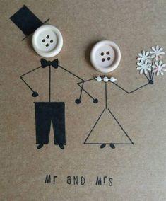 Wedding card mr and mrs marriage wedding day greetings karten Wedding card - mr and mrs- marriage - wedding day- greetings card - kraft- buttons - bride -groom Wedding Cards Handmade, Handmade Birthday Cards, Wedding Gifts, Wedding Day, Wedding Groom, Wedding Ceremony, Wedding Greetings, Button Cards, Quirky Wedding