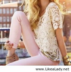Lace crochet top and pastel skinnies