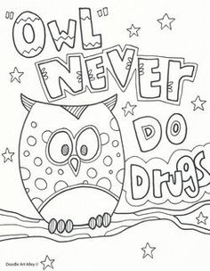 Several free printable coloring pages for Red Ribbon Week