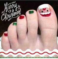 30 Best and Easy Christmas Toe Nail DesignsYou want to get your toenails ready for the holiday season? Are you looking for some cute and festive Christmas toenail art designs? Then, you have come at the right place. You don& have to spend a large sum of& Xmas Nail Designs, Nail Art Designs 2016, Toenail Art Designs, Pedicure Designs, Pedicure Nail Art, Toe Nail Art, Toe Nails, Holiday Nail Art, Christmas Nail Art
