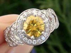 Fancy Canary Yellow Diamond Engagement Ring - http://videos.silverjewelry.be/rings/fancy-canary-yellow-diamond-engagement-ring/