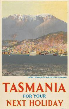 Vintage Travel Poster - Tasmania -: Mount Wellington and the Port of Hobart. Vintage Advertising Posters, Vintage Travel Posters, Vintage Advertisements, Tasmania Travel, Posters Australia, Australian Vintage, Tourism Poster, Wanderlust, Next Holiday