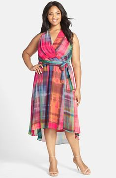 Chetta+B+Plaid+Faux+Wrap+High/Low+Dress+(Plus+Size)+available+at+#Nordstrom