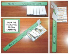 "Teeth-Dental Hygiene activities: FREE Snip & Flip writing prompt toothbrush craftivity. Includes a traceable template, as well as a blank ""bristle box"" for students to write their own thoughts."