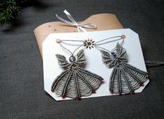 Macrame angel necklace. Two identic charm necklaces. Micromacrame Christmas Angel ornament. Cute gift for girls, daughters and little angels. Check out this item in my Etsy shop https://www.etsy.com/listing/489735399/angel-macrame-charm-silver-christmas