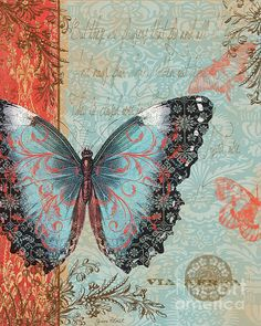 Royal Tapestry Butterfly-b2 Print By Jean Plout