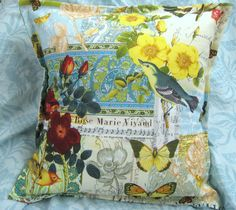 1 / 18x18 / Accent Pillow - Hand Made MICHAEL MILLER BLUEBIRD Floral 100% Cotton #HandMade #SquarePaisley