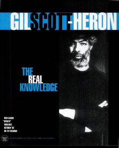 Gil Scott Heron, Urban Music, Afro Art, Vintage Music, Knowledge, Spirit, America, Ads, Album