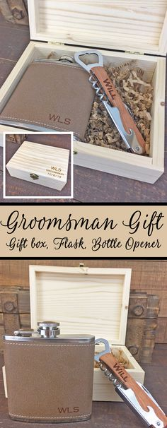 Looking for unique groomsmen gifts?  Our custom engraved wood gift box sets are perfect for any man in your wedding.  Don't forget about the father of the bride and groom, best man and your users!  Purchase just the wood box or add on an optional flask and bottle opener. Each item can be personalized with any text you would like.  Check out our site for more wedding gift ideas and favors.