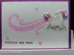 Gekonnt-Gekleckst: Was macht ein Einhorn? - Klar, Glitzer pupsen #stampinup #glitzer #Einhorn #zauberhaftertag #cardmaking #cards