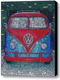 Volkswagen VW Bus Van Word Mosaic wild Framed 9X11 Limited Edition Art w/COA