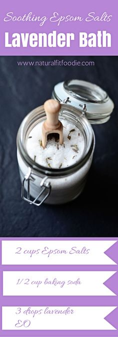 Get instant relief from DOMS (Delayed Onset Muscle Soreness) ease stress and eliminate toxins from the body with this soothing Epsom Salts Lavender Bath.