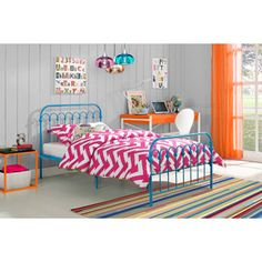 Might be a little obsessed with this bed. 9 by Novogratz Bright Pop Twin Metal Bed, Multiple Colors
