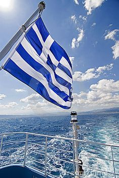 "Greek flag nine stripes represent the syllables in ""Ελευθερία ή Θάνατος"" which means ""Freedom or Death"" and the cross stands for the Greek Orthodox church Mykonos, Santorini, Greek Flag, Greek Girl, Greek Beauty, Greek Culture, Le Palais, Flags Of The World, Ancient Greece"
