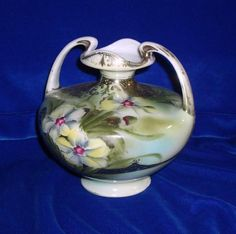 Vintage Nippon Hand-painted Double-handled Vase with Heavy Gilt Trim