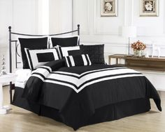 "Lux Décor 8 Pieces Comforter Set Black, White Stripe - KING size Bedding by CozyBeddings. $62.99. 8 Pieces Comforter set with Embroidered Square Pillow. 2 Standard Pillow Sham 20"" x36"", 2 Euro Shams 26"" x26"".. 100% Polyester, Machine Wash Cold, Gentle Cycle. 1 KING size Comforter 104"" x92"", 1 Dust Ruffle 78"" x80"" +14"".. 1 Square Decorative Pillow 18"" x 18"", 1 Bolster 12"" x 18"". Wrap yourself in the Softness of the Lux Décor Comforter Set found in World Class Hotels. Comfo..."