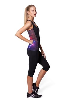 Galaxy Purple Combat Top - LIMITED by Black Milk Clothing $50AUD
