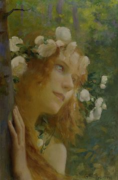Nymphe by Gaston Bussière -  French Symbolist painter and illustrator, 1862 -1928.